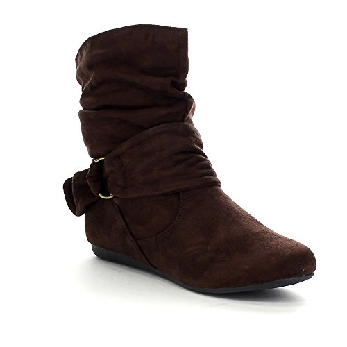 Beston Forever Link Selena-58 Women's Fashion Mid Calf Flat Heel Side Zipper Slouch Boots Brown 7.5