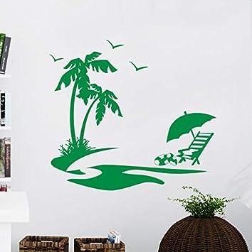 Patrón de palmera verde con patrón de ave tatuajes de pared verano ...