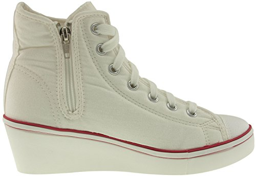 Maxstar 7-Holes New Zipper Wedge Low Heels Sneakers Shoes White gbKL2OOU