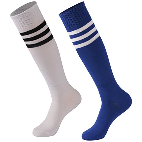 Calbom Athletic Soccer Socks Men Women, Tube Dresses Cosplay High School College Anniversary Sports Meeting Team Socks Pack of 2 White Fashion Casual Accessory (Stripes Anniversary)