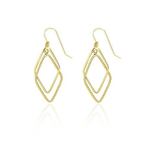 14k Yellow Gold Designed Lozenge Diamond Shaped Drop Dangle Earring in Gift Box for Women and Teen (Gold Lozenge)