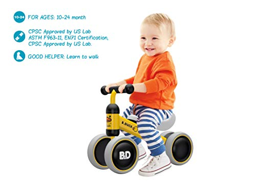 Baby Toddler Tricycle Bike No Pedals 10-24 Months Ride-on Toys Gifts Indoor Outdoor For 1 Year Old Boys Girls First Birthday Thanksgiving Yellow Ducks