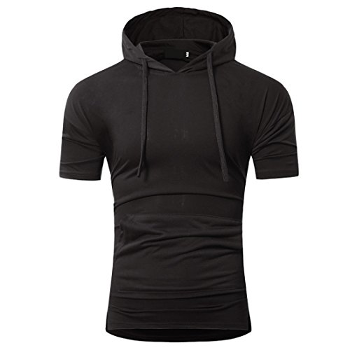 capucha con Sudadera Camisas Manga bolsillo con Ai corta Camisetas Negro Deportes Hombre moichien zqxw0H8T