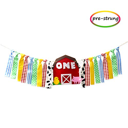 One 1st Highchair Farm Banner Baby First Birthday Decorations Photo Prop Backdrop cake smash Barnyard gender neutral Felt Rag Tie garland