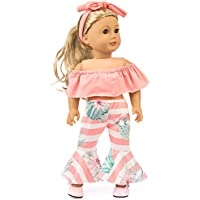 Lavany 3pcs Doll Clothes Set Off Shoulder Tops Pants for 18 Inch Doll