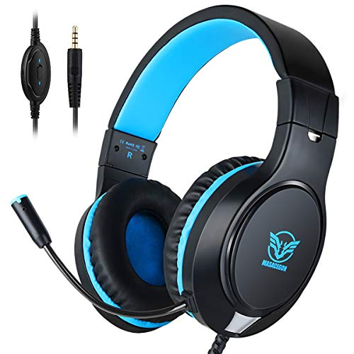 icoco PS4 Gaming Headset Bass Surrounding Stereo Sound Over Ear Headphone with Noise Cancelling Microphone, Volume Control for Nintendo Switch,PS3,PS4,Xbox One,iPad,PC,Laptop ()