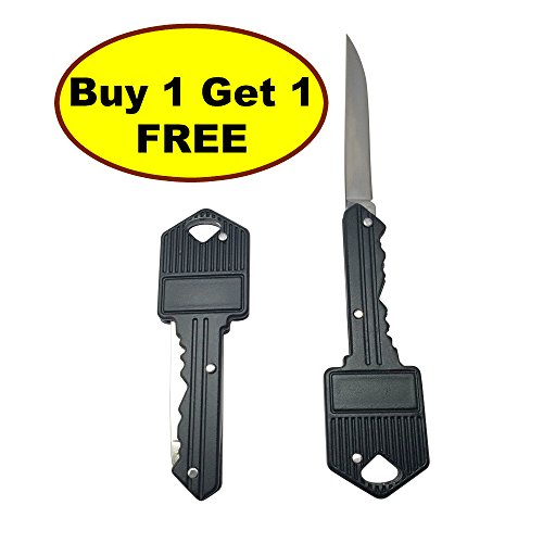 NEW 2 pack Key Chain Knife with Straight Edge Folding 2-Inch Stainless Steel Drop Point Blade, Knives & Tools, Hard Cased Black Finish by JJMG