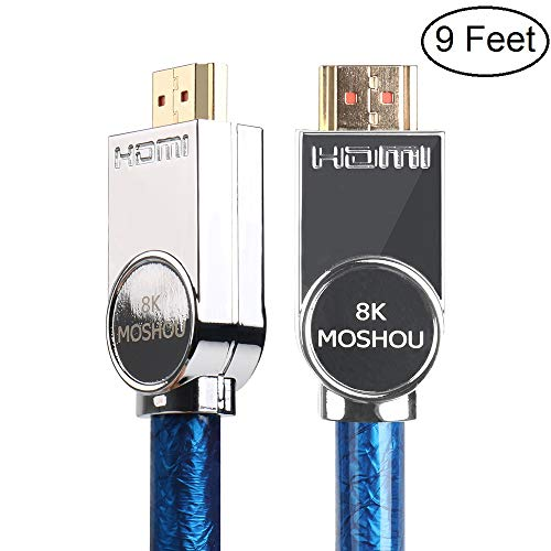 SIKAI 8K Ultra High Speed Cable 4K@60HZ 8K@120Hz 48Gbps 4320P UHD HDR High-Definition Multimedia Interface Cord Compatible with LG OLED TV, Samsung QLED TV, Apple TV, VIZIO TV, Roku (9 Feet, Blue)