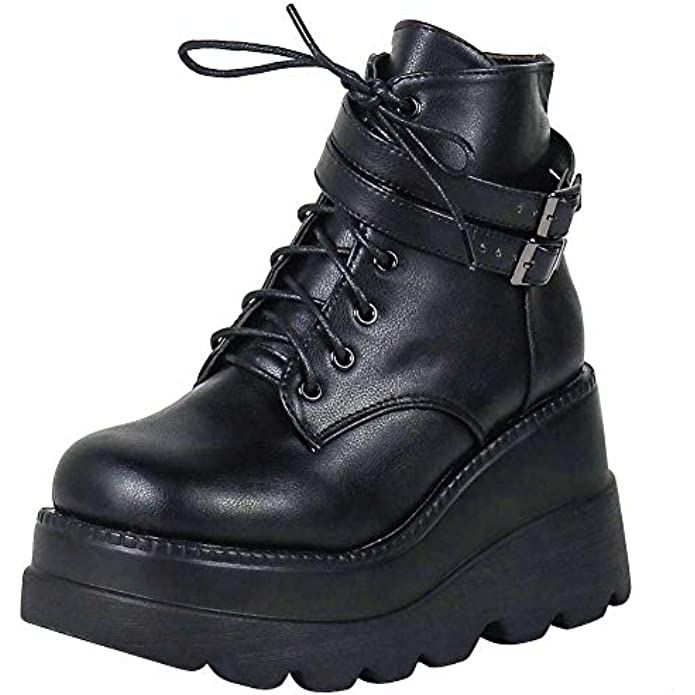 CELNEPHO Chunky Platform Boots for Women, Square Toe Lace up Zip High Heel Combat Wedge Ankle Boots