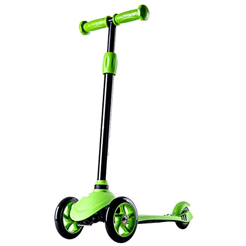 YI HOME- Scooter Multi-Function Student Collapsible Lifting Swing Car Yo-Yo Toy Flash Wheel 3-15 Years Old(4522Cm),Green