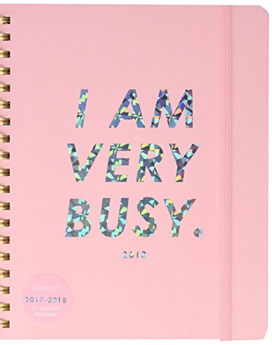 ban.do design 2017-2018 17 Month Large Agenda, I Am Very Busy Pink /Holographic (70731)