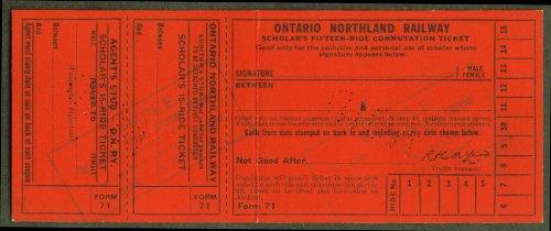 (Ontario Northland Railway 15-ride Scholar Ticket)