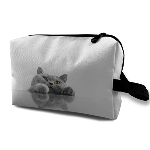 Qbao Cat Face Unisex Travel Cosmetic Bag Portable Makeup Case & Organizer Toiletry Pouch]()