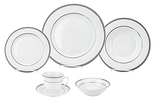 Porcelain Dinnerware Set, 24-Piece Service For 4 by Lorren Home Trends/Ashley Design: Dinner Plates, Soup Bowls, Salad Plates, Coffee Cups with Saucers, Fruit Bowls (Dinner Plated European Silver)