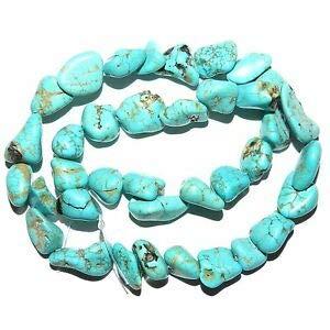 (NG2270fb Blue Turquoise Medium 12mm -16mm Nugget Magnesite Gemstone Beads 15