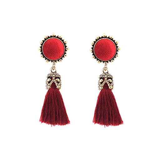 Lanhui Mother's Day Jewelry Earrings, Vintage Style Rhinestones Crystal Tassel Dangle Stud for Women Fashion (Red, About 60mm) (50 Bracelet Cent)