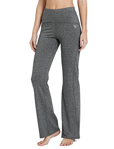 Baleaf Women's Yoga Bootleg Pants Tummy Control Heather Grey Size M Low Rise Capri Leggings Pants