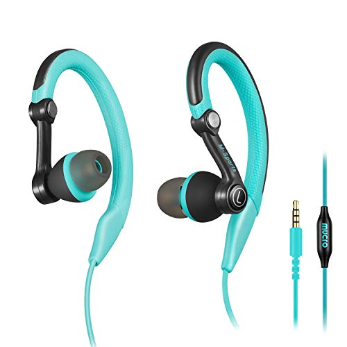 mucro Running Headphones Over Ear in Ear Sport Earbuds Earhook Wired Stereo Workout Ear Buds Jogging Gym Samsung Android Phones Tablets (Blue)