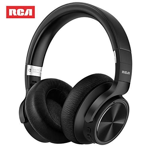 RCA [Upgraded] Active Noise Cancelling Headphones, Over Ear Wireless Bluetooth Headset with CVC 6.0 Mic, 30Hrs Playtime, Foldable Soft Protein Earpads Earphones for Travel Work TV PC Phone