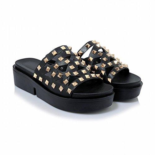 Charm Foot Womens Comfort Rivet Mid Heel Platform Sandals Slippers Black W33NIXceX