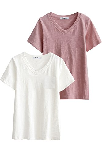 d6a363794cc97f BodiLove Women's Pure Cotton Washed Slub Jersey T Shirt Top with Chest  Pocket 2 Packs ASTD