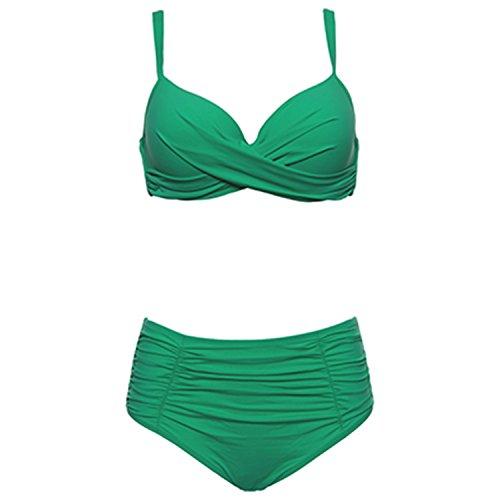 COOCOl Bikinis Women Swimwear Plus Size Swimwear Green 18666 (Omaha Bridal Shops)