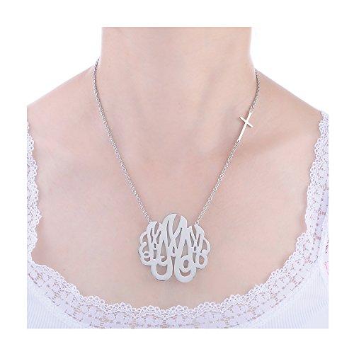 Huan XUN Stainless Steel Monogram Offset Sideways Cross Necklace, 16+2