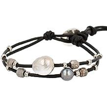 Chan Luu Womens Fresh Water Pearl On Leather Single Wrap Bracelet w/ 18k Gold Plated Beads