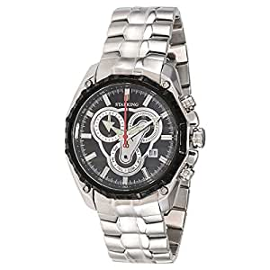 Starking Men's Black Dial Stainless Steel Band Watch - BM0831BS12