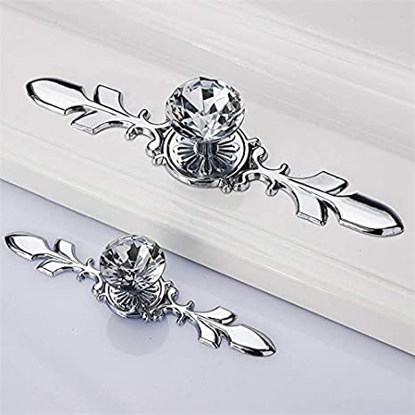 117mm 4 Pcs Glass Diamond Crystal Door Knobs Wardrobe Pull Handle Bar Cabinet Cupboard Drawer Knob with Screws