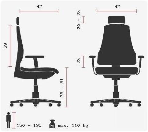 Topstar Bürostuhl HJH Solution Deluxe Head AL.U2 Chrom schwarz, Kopfstütze, Ergonomischer Drehstuhl, Armlehnen