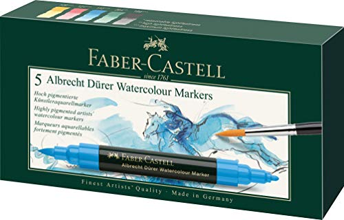 Faber-Castell Albrecht Durer Artists' Watercolor Markers – 5 Assorted Colors – Multipurpose Art Markers