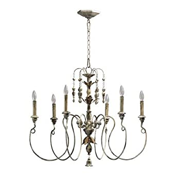 Quorum International 6006-6-70 Salento 6 Light Chandelier, 32 , 33.72 x 9.02 x 16.86 , Persian White