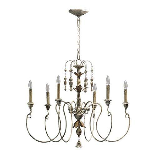 Quorum International 6006-6-70 Chandeliers with Shades, Persian White, 32