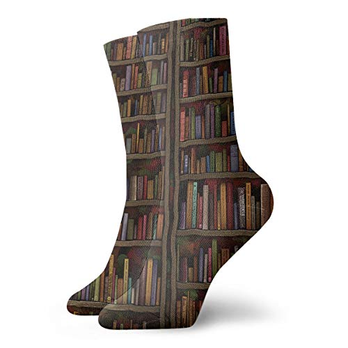 NEWINESS Vintage Library Bookshelf Bookcase Socks Basketball High Ankle Socks Below Knee Stockings Breathable Comfortable Best Gifts Athletic Crew Socks for Men & Women