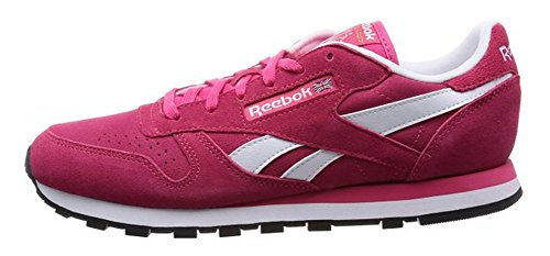 Reebok Classic Leather Suede M46525 Rosa (BLAZING Pink/White/Black/Gold met) dimensioni Euro 37, 5/Stati Uniti 7/UK 4,5/24 cm