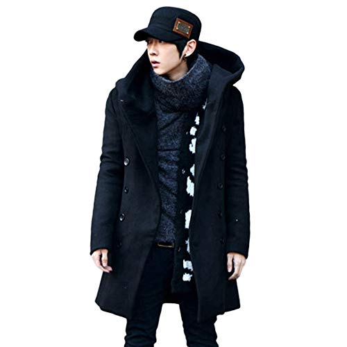 Warm Capispalla Winter Cappuccio Con Neeky Trench Da Giacca Nero Top Uomo Fit By Leggera Manica Button Lunga Coat ISqXfqw6