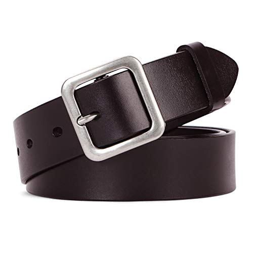 Women Leather Belt Vintage Casual Ladies Belts for Jeans Pants Square Buckle Belt For Women By ()