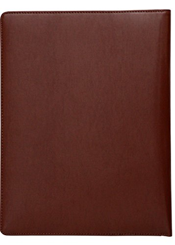 A4 Conference Folder Folio Case Milled Leather Business Organiser Pad Portfolio (Brown) ()