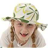 Toddler 50+ UPF Sun Protection Hat, Size Adjustable Breathable with Chin Strap (Medium: 9m - 24m, (Children: M, Green Flower)