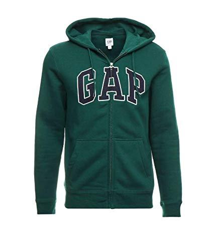 (GAP Mens Fleece Arch Logo Full Zip Hoodie (Medium, Dark Green/Navy Logo))