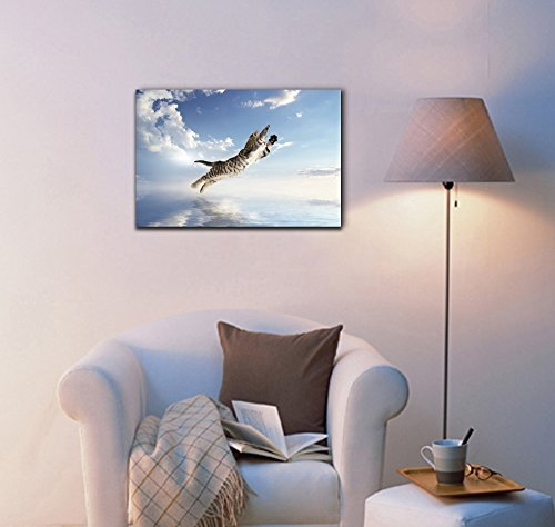 Funny Flying Animals A Cat Flying Above The Water Nursery Wall Kids