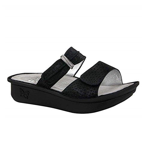 """Alegria Women's""""Karmen"""" Slide Sandal- Black Wavy- 37 M EU (7-7.5 US)"""