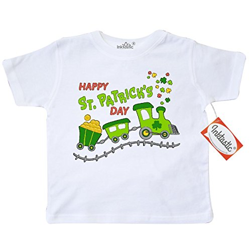[Inktastic Little Boys' Happy St. Patrick's Day shamrock train Toddler T-Shirt 3T White] (St Patricks Day Shirts For Toddlers)