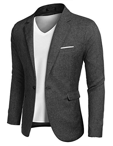 (COOFANDY Men Slim Fit Suits Casual Lightweight Blazer Jackets One Button Tuxedos)