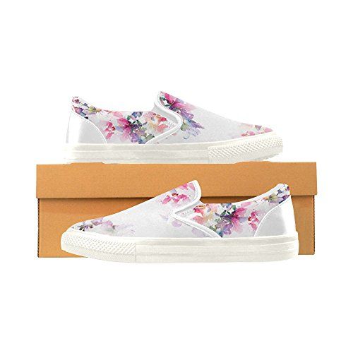 D-Story Custom Sneaker Floral Background Roses Watercolor Women Unusual Slip-on Canvas Shoes cZWjBPZ