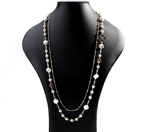 Coco Chanel Fancy Dress Costume (MISASHA Multipurpose Long Black Clover Flower Faux Imitation Pearl Bridal Necklace)