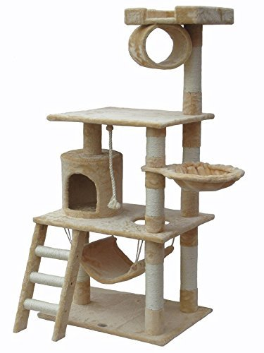 62'' Cat Tree Condo Furniture Play Toy Scratch Post Kitten Pet House (Beige)