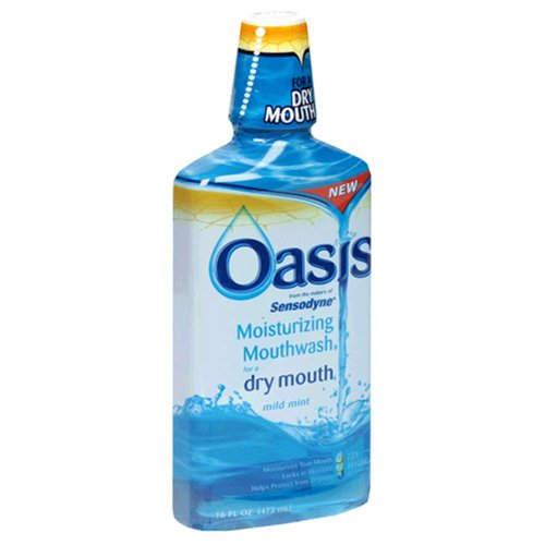 Oasis Moisturizing Mouthwash, For A Dry Mouth, Mild Mint, 16 Fl oz (473 ml) (Pack of 3) by Oasis