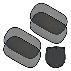"EveShine Car Sun Shade for Side and Rear Window - (4 Pack ) - Extra Large 20""x12"" Static Cling Sunshade"